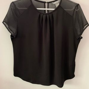 H&M black top with sheer detail